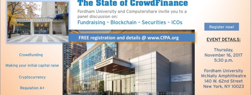 The State of Crowdfinance forum 11/16/17 – Crowdfunding Professional